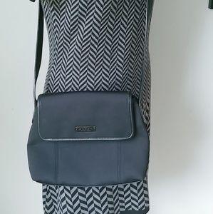 Coach leather and fabric crossbody handbag